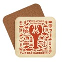 Lobster Pattern Print Bar Harbor Coaster