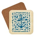 ME Boothbay Harbor Anchor Pattern Print Coaster