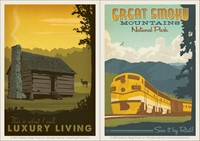Luxury Living Cabin & Great Smoky Train Vinyl Magnet Set