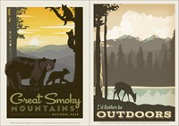 Rather Be Outdoors & Great Smoky Mountaintop Vinyl Magnet Set