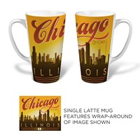 Chicago Sunset Skyline Latte Mug
