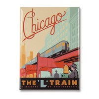 Chicago L-Train Metal Magnet