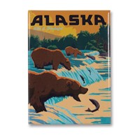 Alaska Fishing Bears Metal Magnet