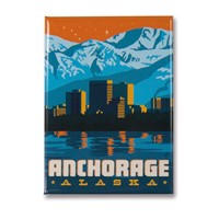 AK Anchorage Skyline Metal Magnet