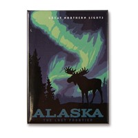 Alaska Northern Lights Moose Metal Magnet