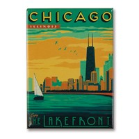 Chicago Lakefront Metal Magnet