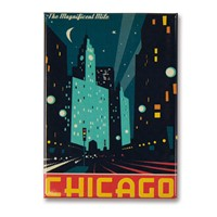 Chicago Modern Magnificent Mile Metal Magnet