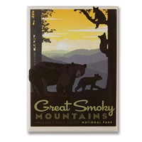 Great Smoky Mama Bear & Cubs Metal Magnet