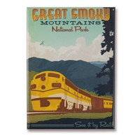 Great Smoky Train Metal Magnet