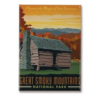 Great Smoky Cabin Metal Magnet