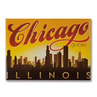 Chicago Sunset Skyline Metal Magnet