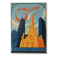 Chicago Water Tower Metal Magnet