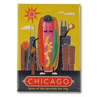 Chicago Hotdog Metal Magnet