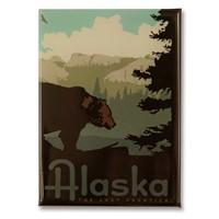 AK Frontier Mountain Bear Metal Magnet