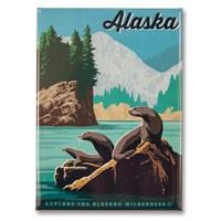 AK Sea Lions Metal Magnet