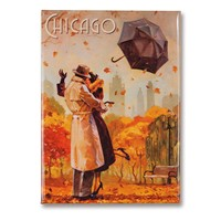 Chicago Windy City Kiss Metal Magnet
