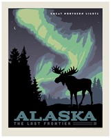 "AK Northern Lights Moose 8""x10"" Print"