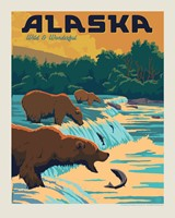 "AK Fishing Bears 8"" X 10"" Print"