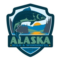 Alaska Salmon Emblem Sticker