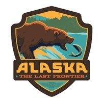 Alaska Fishing Bear Emblem Sticker