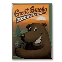 Great Smoky Cartoon Bear Metal Magnet