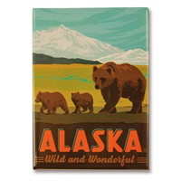 AK Wonderful Bear & Cubs Metal Magnet