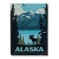 AK Moose Lake Metal Magnet