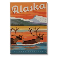 AK Swimming Caribou Metal Magnet