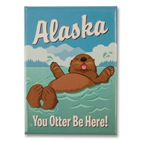 AK Otter Be Here Metal Magnet