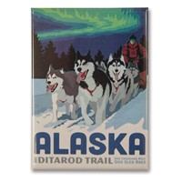 AK Dog Sled Metal Magnet