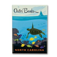 Outer Banks Turtle Metal Magnet