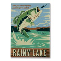 Rainy Lake Gone Fishing Metal Magnet