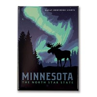 MN Northern Lights Moose Metal Magnet