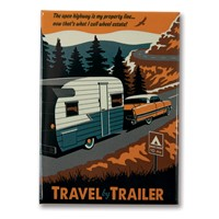 Travel by Trailer Metal Magnet