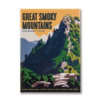Great Smoky Chimney Tops Metal Magnet