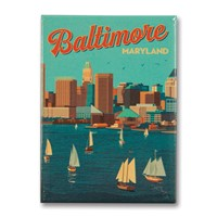 Baltimore, MD Harbor View Metal Magnet