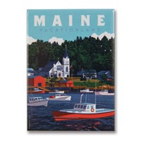 ME Vacationland Metal Magnet