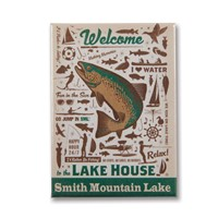 Smith Mountain Lake House Pattern Metal Magnet