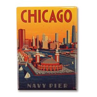 Chicago Navy Pier Aerial View Metal Magnet