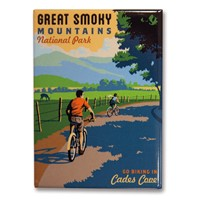 Great Smoky Cades Cove Biking Metal Magnet