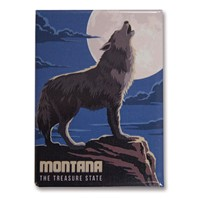 Montana Gray Wolf Metal Magnet