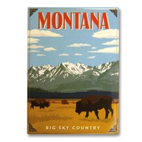 Montana Bisons Big Sky Country Metal Magnet