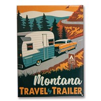 Montana Travel by Trailer Metal Magnet
