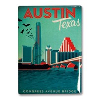 Austin, TX Congress Avenue Bridge Metal Magnet