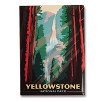 Yellowstone Falls Red Metal Magnet