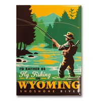 Wyoming Fly Fishing Metal Magnet