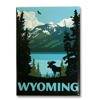 Wyoming Moose Metal Magnet