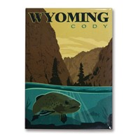 Wyoming Cody Fish Metal Magnet