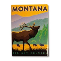 Montana Elk Big Sky Country Metal Magnet