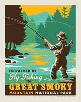 "Great Smoky Fly Fishing 8"" x 10"" Print"
